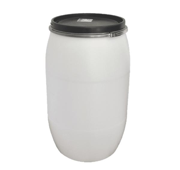 PE-Deckelfass 220l in natur zur Lagerung von Flüssigkeiten vertikal und horizontal