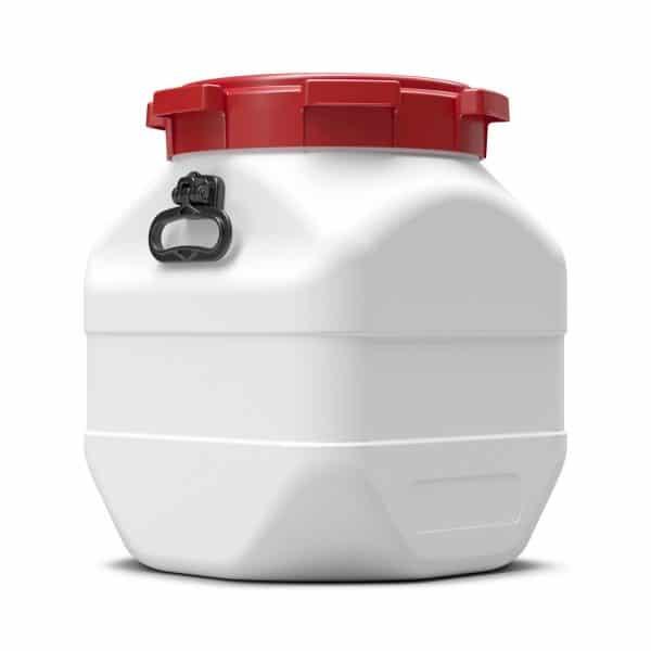 Das 50 Liter quadratische Fass schützt vor Nässe, Manipulation und anderen Eingriffen von Außen