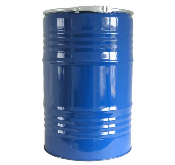 Das Stahlfdeckelfass 200 Liter wird mit einem Spannring fest verschlossen